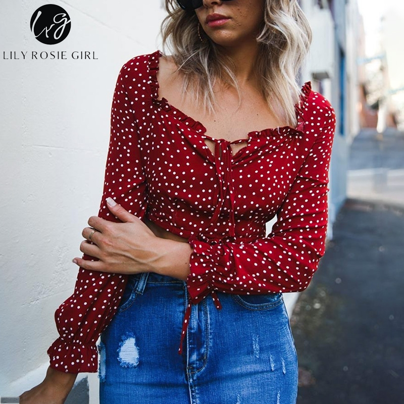 Lily Rosie Girl Long Sleeve Casual   Blouse     Shirt   Square Collar Short Feminine   Blouse   Off Shoulder Dot Crop Lace Up Boho   Blouse