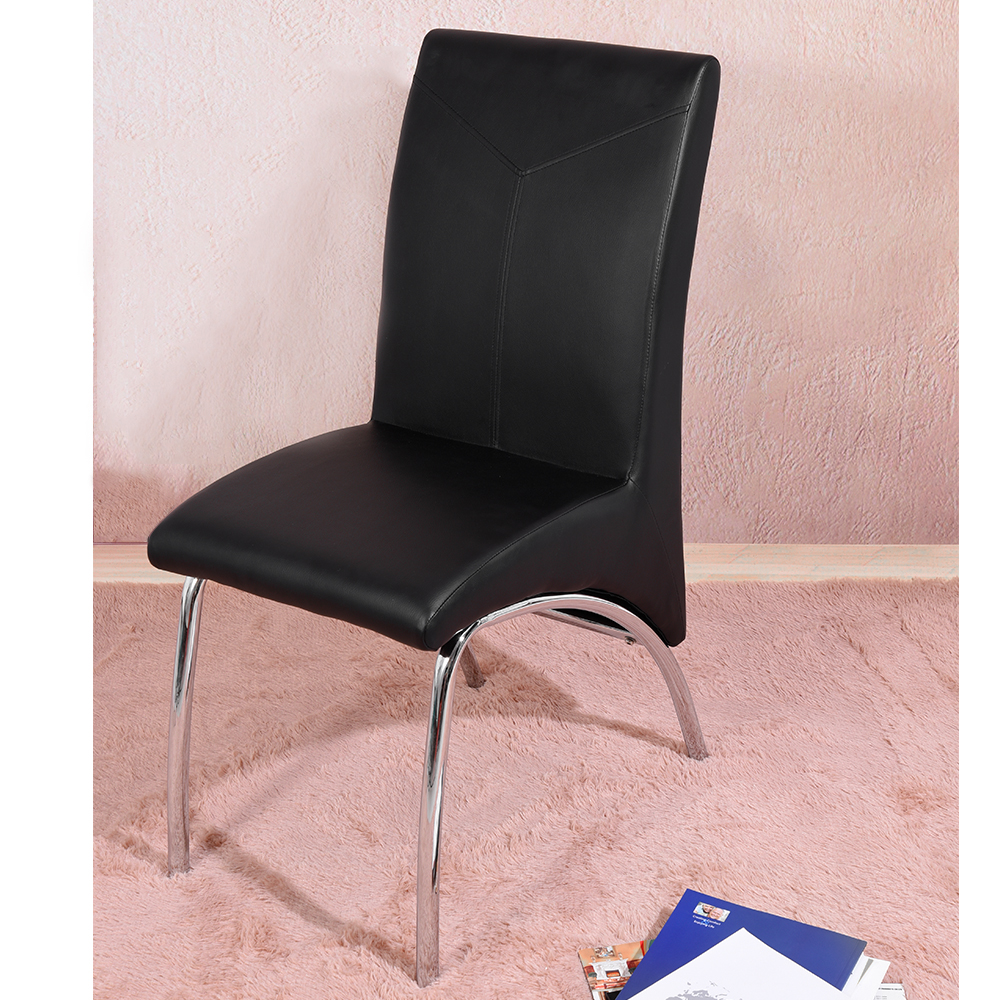 Chrome Dining Chair 2pcs/lot Black PU Modern Contemporary Dining Room Furniture HOT SALE no 300pc 8 bb 3