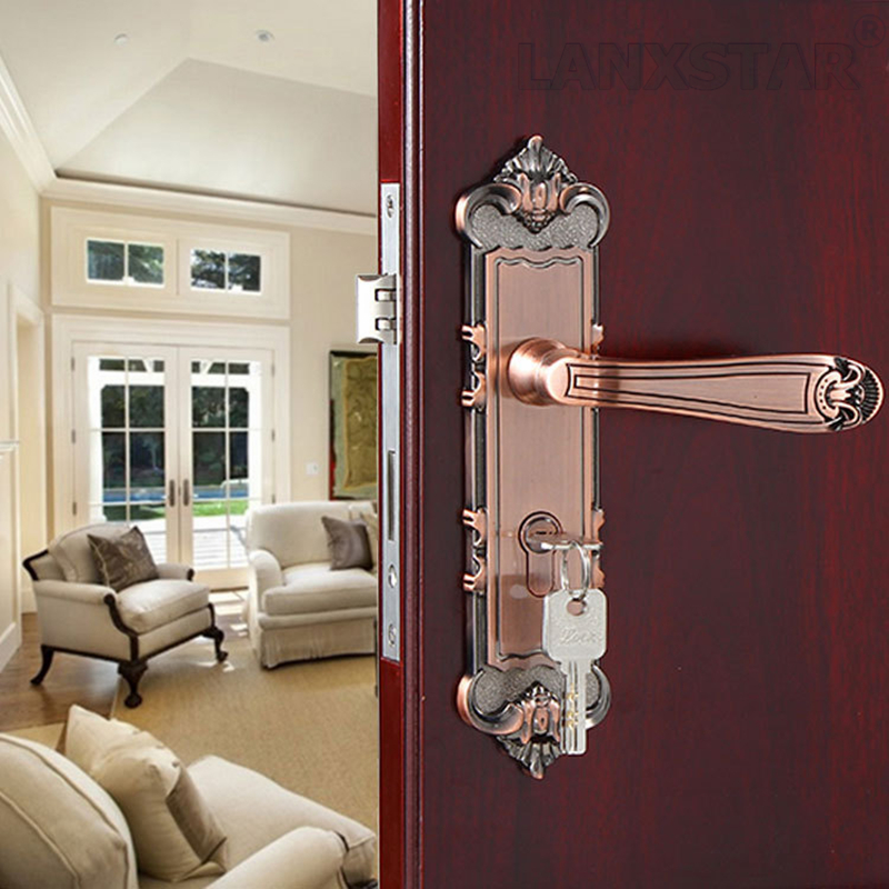 ФОТО High Quality Top Zinc Alloy Handle Lock Mute Lockset Copper Lockcore Fashion Decoration Hardware Bearing Room Door Locks