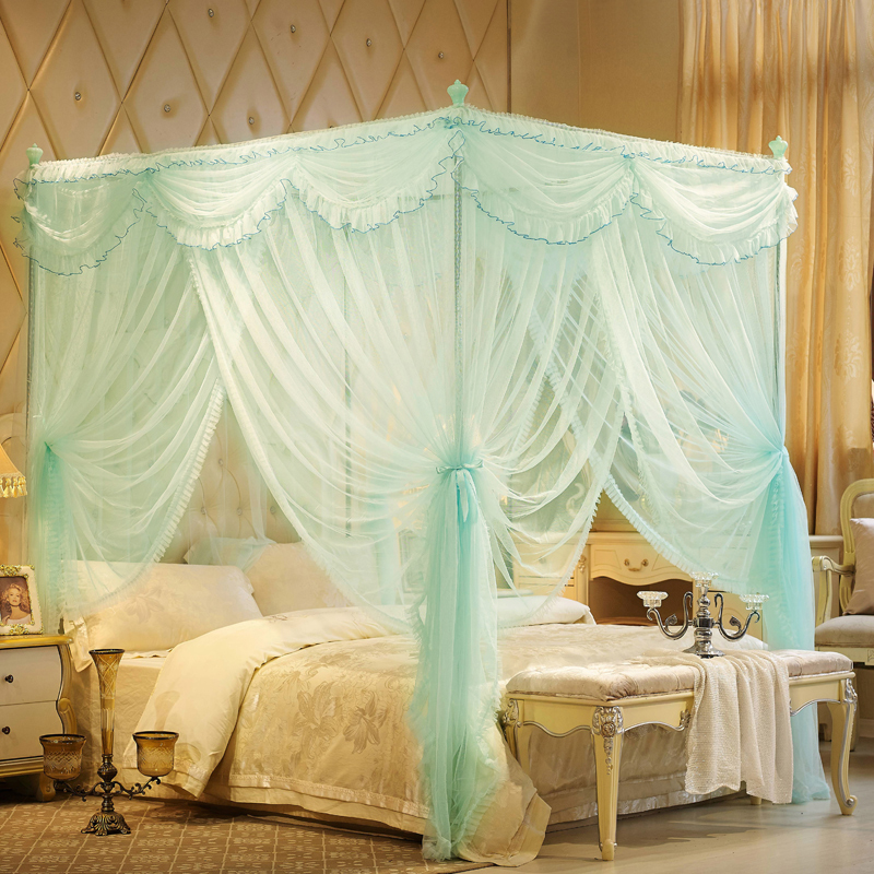 luxury Court style Romantic Lace Three-door Double Bed mosquito net Have frame Full Queen King Size Home Decoration bedding set
