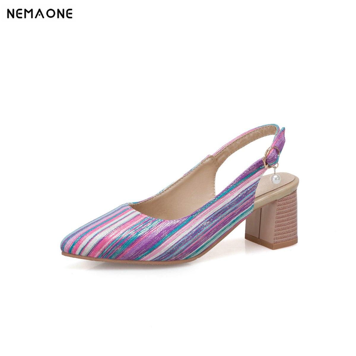 d4681bd44 NEMAONE/обувь на высоком толстом каблуке с ремешком на пятке женские цвета  радуги женские туфли-лодочки женская обувь большой размер 43