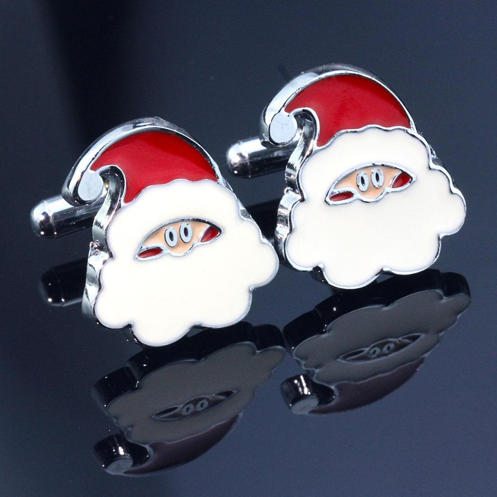 2018 Neue Luxus Hemd Santa Claus Manschettenknopf Für Mens Hohe Qualität Emaille Manschettenknöpfe Schmuck Weihnachten Geschenk Fabriken Und Minen