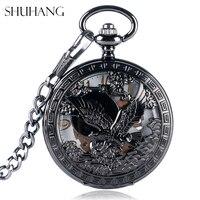 SHUHANG Nursing Watches Cool Flying Eagle Hawk Mechanical Pocket Watch Skeleton Black Pendant Clock Man S