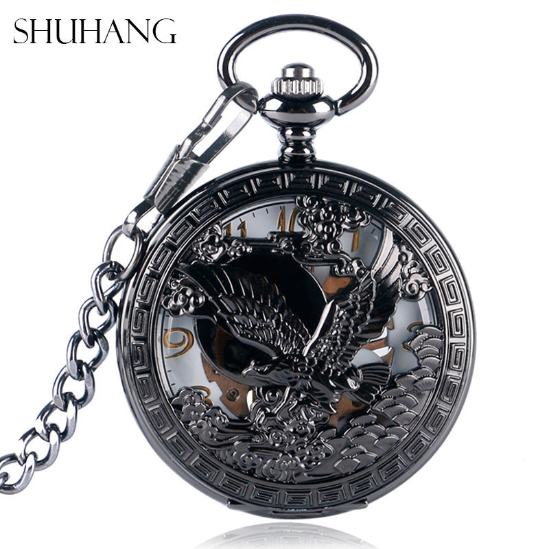 SHUHANG Nursing Watches Cool Flying Eagle Hawk Mechanical Pocket Watch Skeleton Black Pendant Clock Man's Woman's with Chain shuhang rose cooper mechanical hand winding pocket watch octagon shape roman number skeleton clock pendant with chain best gift