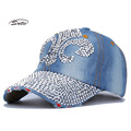 wholesale fashion hat caps sunshading men and women's baseball cap rhinestone hat denim and cotton snapback cap