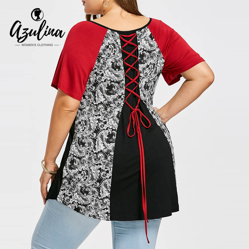 16951977 AZULINA Plus Size Lace Up Baroque Print T Shirt Women T Shirt Summer Tops  Tees New Fashions O Neck Short Sleeves Ladies T Shirts-in T-Shirts from  Women's ...