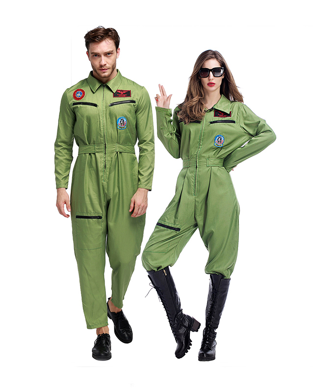 Couple Wear Pilot Suit Costume Uniform Charm Stage Show Cosplay Night Club Party Fancy Dress Carnival Halloween image