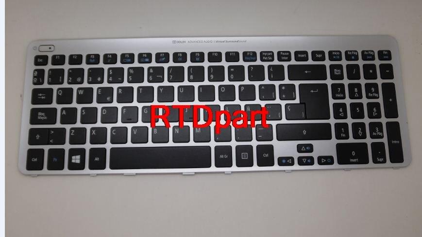 Laptop Keyboard For ACER Aspire V5-571 MS2361 HE Black 9Z.N8QBW.K0H NSK-R30KBW 0H NK.I1717.07Y Sliver Frame&backlight