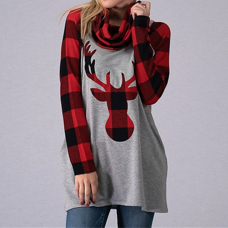LASPERAL Women T Shirt Christmas Elk Round Collar Cotton ...
