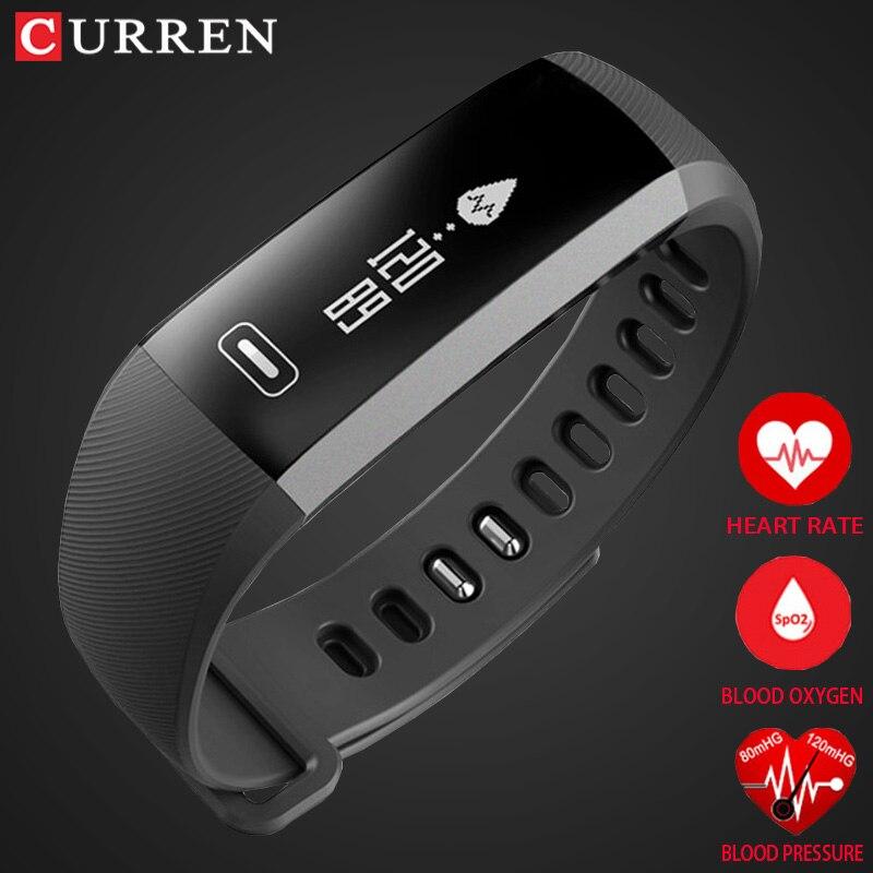 CURREN pro Smart poignet Bande de fréquence Cardiaque Sang Pression D'oxygène Oxymètre Sport Bracelet Montre intelligente Pour iOS Android Smartband