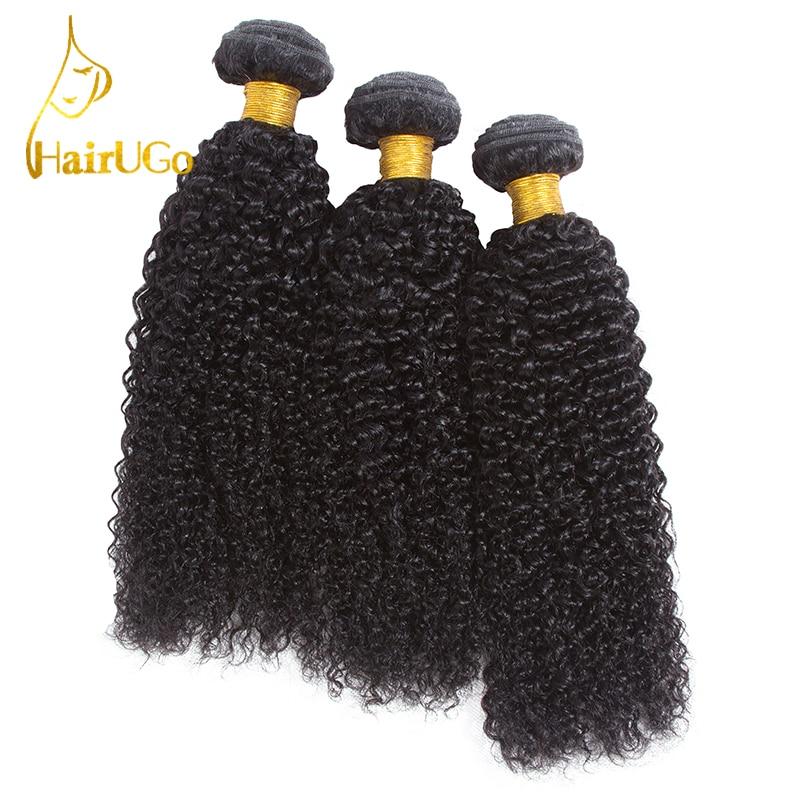 HairUGo 헤어 Pre-coloured 말레이시아 3PCS 곱슬 곱슬 직물 - 인간의 머리카락 (검은 색)