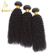 HairUGo Hair Pre-Colored Malaizijos 3PCS Kinky Curly Weave žmogaus plaukų bangų paketai Non Remy plaukų pratęsimo plaukų išplauti
