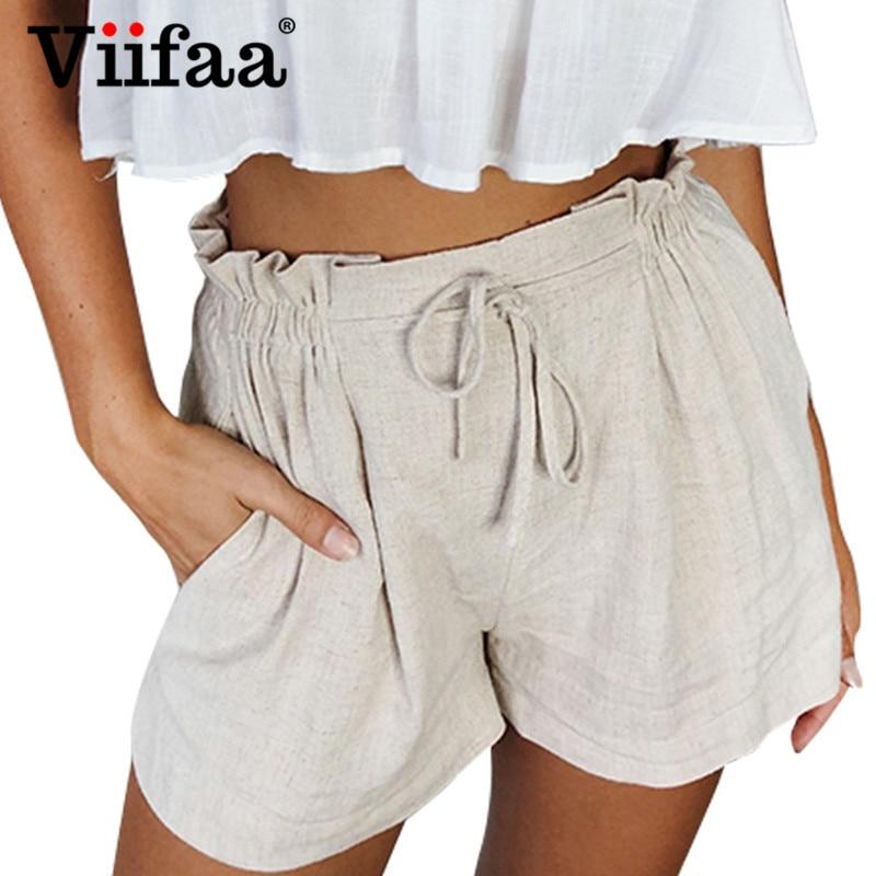 Viifaa Beige Casual High Waist Summer   Shorts   Women Elastic Waist Tie Front Mini   Shorts   2019 Vacation   Short     Shorts
