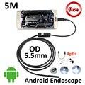 Cobra endoscópio câmera de inspeção de tubos 5 m android micro usb 5.5mm 3.5 m 2 m 1 m flexível android otg câmera borescope usb