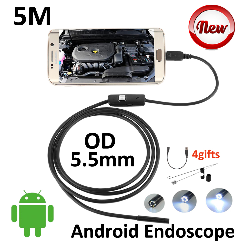 Snake Pipe Inspection 5M Android Micro USB Endoscope Camera 5.5mm 3.5M 2M 1M Flexible Android OTG USB Borescope Camera micro usb endoscope camera 7mm lens 1 5m flexible snake pipe inspection android phone otg usb borescope p67 waterproof camera