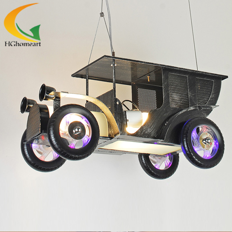 Iron nostalgic retro toy car Children's room bedroom chandelier creative cartoon boy Led chandeliers wrought iron chandelier aircraft lamp boy children master bedroom room led chandeliers creative cartoon