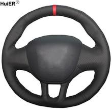 HuiER ручной швейной машине крышка рулевого колеса красный маркер для peugeot 208 2008 износостойкие, breathabl аксессуары для интерьера Запчасти