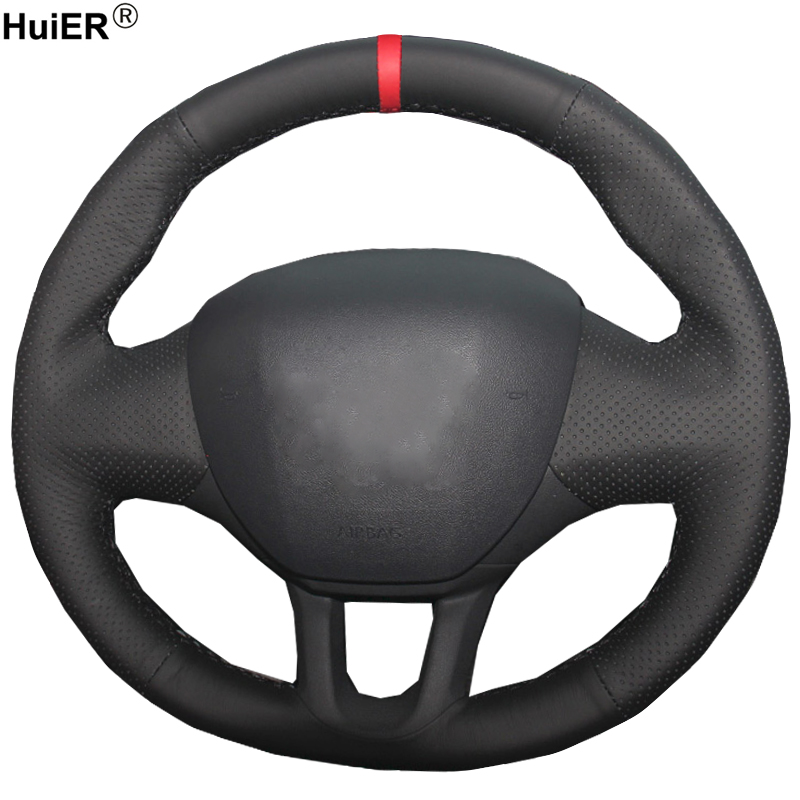 HuiER Hand Sewing Car Steering Wheel Cover Red Marker For Peugeot 208 2008 Wear-resistant ,Breathabl Interior Accessories Parts image