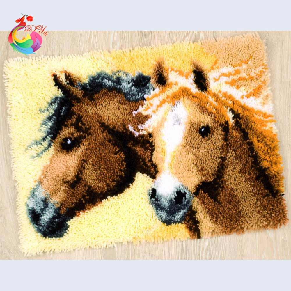 Cucito a punto Croce tappeto kit fai da te ricamo Cartoon Horse Latch hook rug Carpet set ricamo ricami a punto filetto