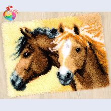 Needlework Cross-stitch carpet diy embroidery Cartoon Horse Latch hook rug kits Carpet embroidery sets embroidery stitch thread(China)