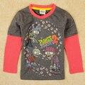 Minoristas chicos ropa para el verano Zombie ropa los niños roupa infantil del muchacho camiseta nova marca niños camiseta manga larga A5042Y