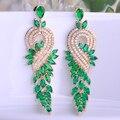 Blucome aaa cobre verde rhinestone cristales pendientes de oro de lujo plateó la joyería gota planta pendientes mujer de boda bijoux