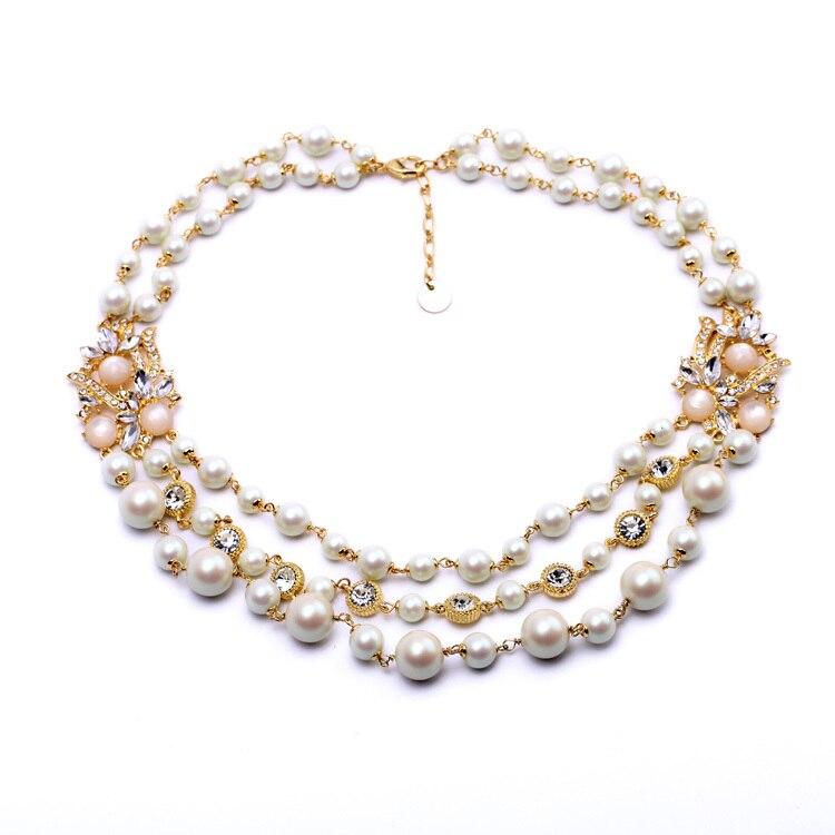 b65c60862b4a Nueva moda elegante temperamento damas joyería lujo imitación perla collar  banquete Collares