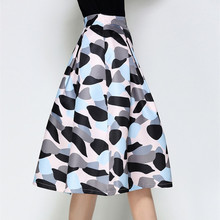 Midi Skirt Womens 2018 Spring Elegant Fashion Vintage Skirts High Waist Print Patchwork Jupe Femme Pleated Ladies Faldas Mujer