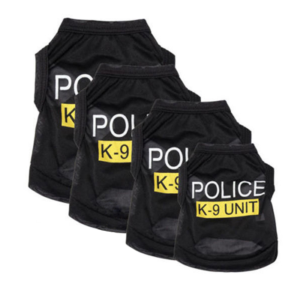 Police Suit Cosplay Dog Clothes Black Elastic Vest Puppy T-Shirt Coat Accessories Apparel