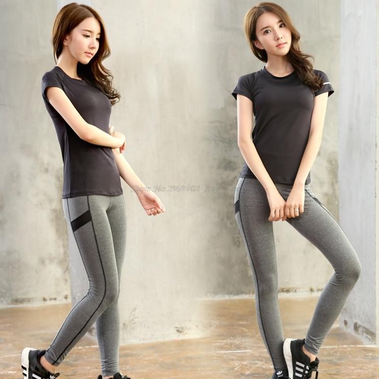 Vysoká kompaktní dámská sportovní jóga (krátké rukávy tričko a prodyšné rychlé suché potní absorbují kalhoty) Big GIrl Workout Wear