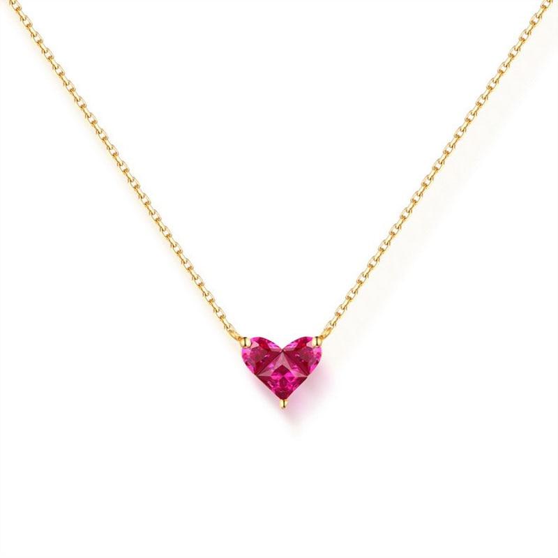 ANI 14K Yellow Gold Pendant Necklace Red Corundum Fine Color Gemstone Jewelry Women Engagement Necklace Fashion Birthday Gift