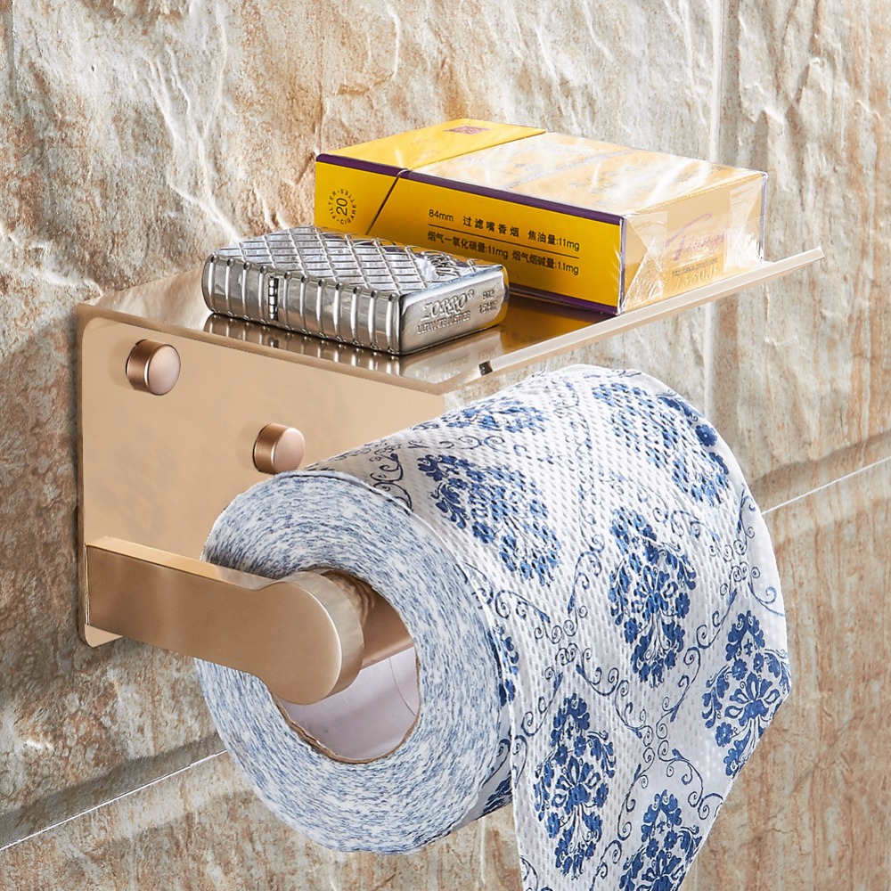 Toilet Paper Holder with Shelf Black Wall Mounted Mobile Phone Paper Towel Holder Decorative Bathroom Roll