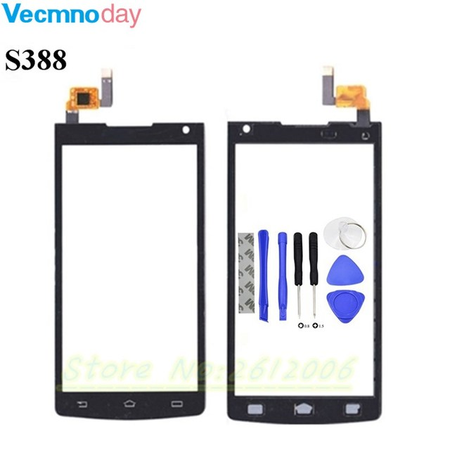 Vecmnoday Touch Panel Sensor For Philips Xenium S388 388 Touch Screen Digitizer Front Glass Lens Sensor Touchscreen + tools