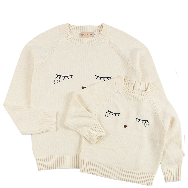 New 2019 Family Matching Outfits Sweaters Mother And Daughter Clothes White Eyelash Sweaters For Mom And Kids Cardigan Sweaters