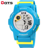 OTS Waterproof Children Boys Girls Kids Digital Multifunction LED Quartz Alarm Date Sports Wrist Watch Alipower