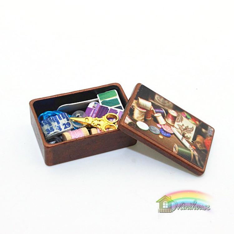 1:12 милые мини кукольная Миниатюра Украшение Вышивание Toolbox ...
