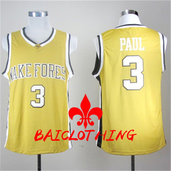 8133c8a5b1ec 2017 wake forest demon deacons chris paul 3 college basketball authentic  jersey yellow size s
