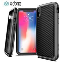 X doria Défense Lux Téléphone étui pour iPhone X XR XS Max De Qualité Militaire Baisse Examinée Cas Coque Pour iPhone XR XS Max Couvercle En Aluminium