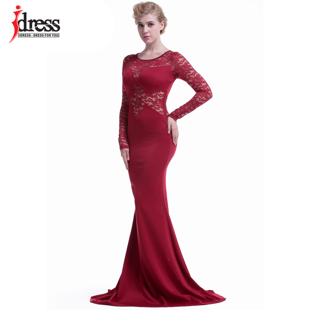 b27aad2a2545f IDress Plus Size Vestidos Women Sexy Evening Party Black Lace Dress Long  Sleeve Bodycon Mermaid Dress Elegant Long Maxi Dress