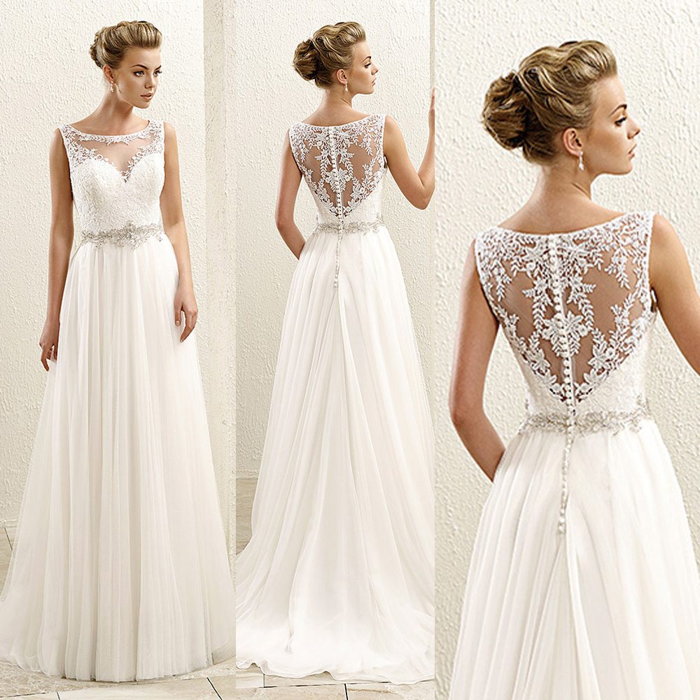 2015 cheap summer beach a line white chiffon wedding dress for Back necklace for wedding dress