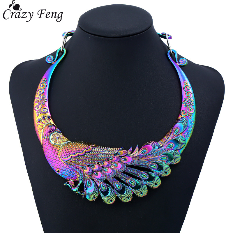 Crazy Feng Retro Ethnic Carved Colorful Peacock Big Necklace Indian Maxi Jewelry Women Silver Color Exaggerated Necklace Bijoux кольцо crazy feng