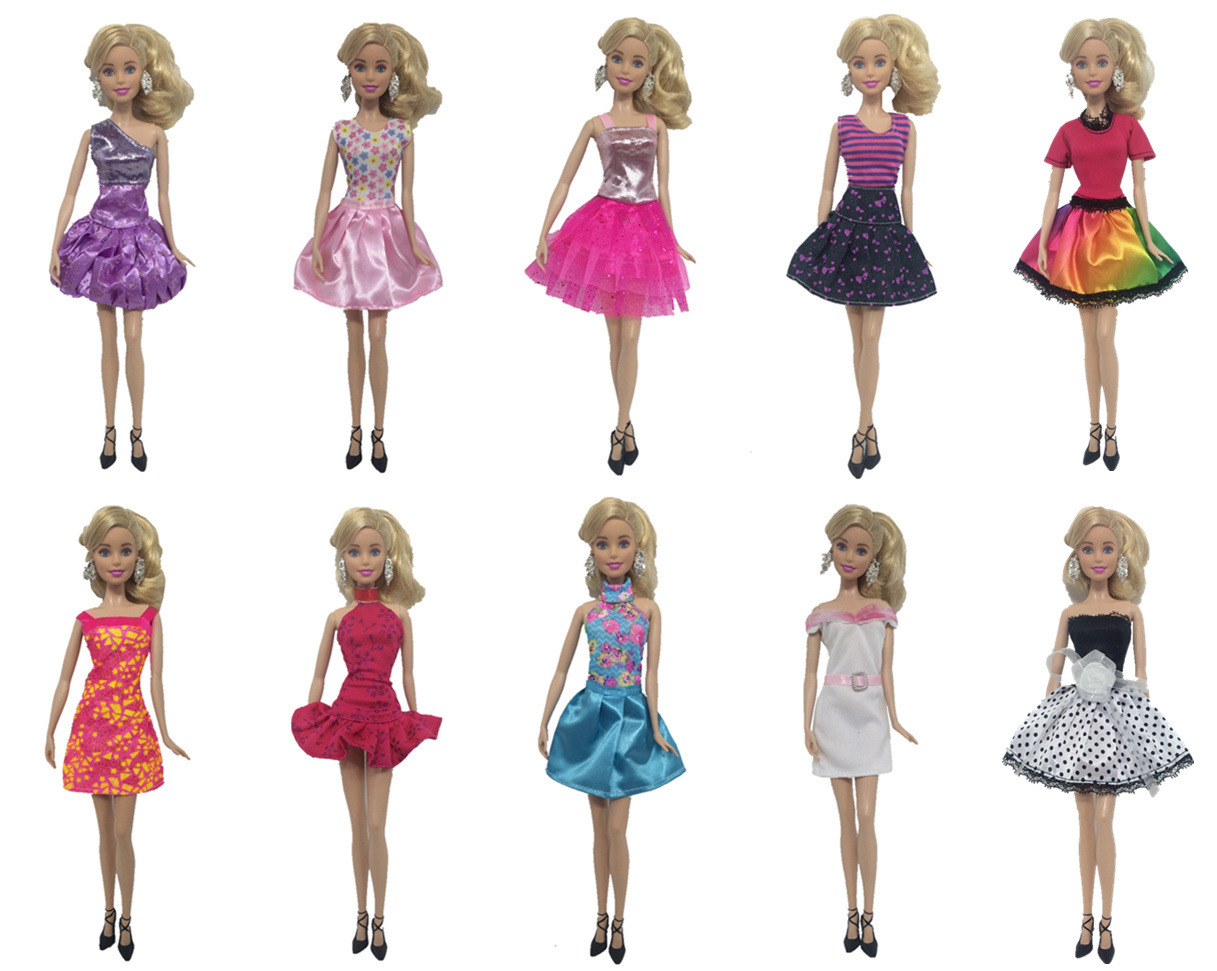 10 pcs/Lot  Princess Doll Dress Noble Party Gown For Barbie Doll Fashion Design Outfit Best Gift For Girl' Doll hotsale 26 item pcs 10 pcs beautiful party barbie clothes fashion dress 6 plastic necklace 10 pair shoes for barbie doll accessories