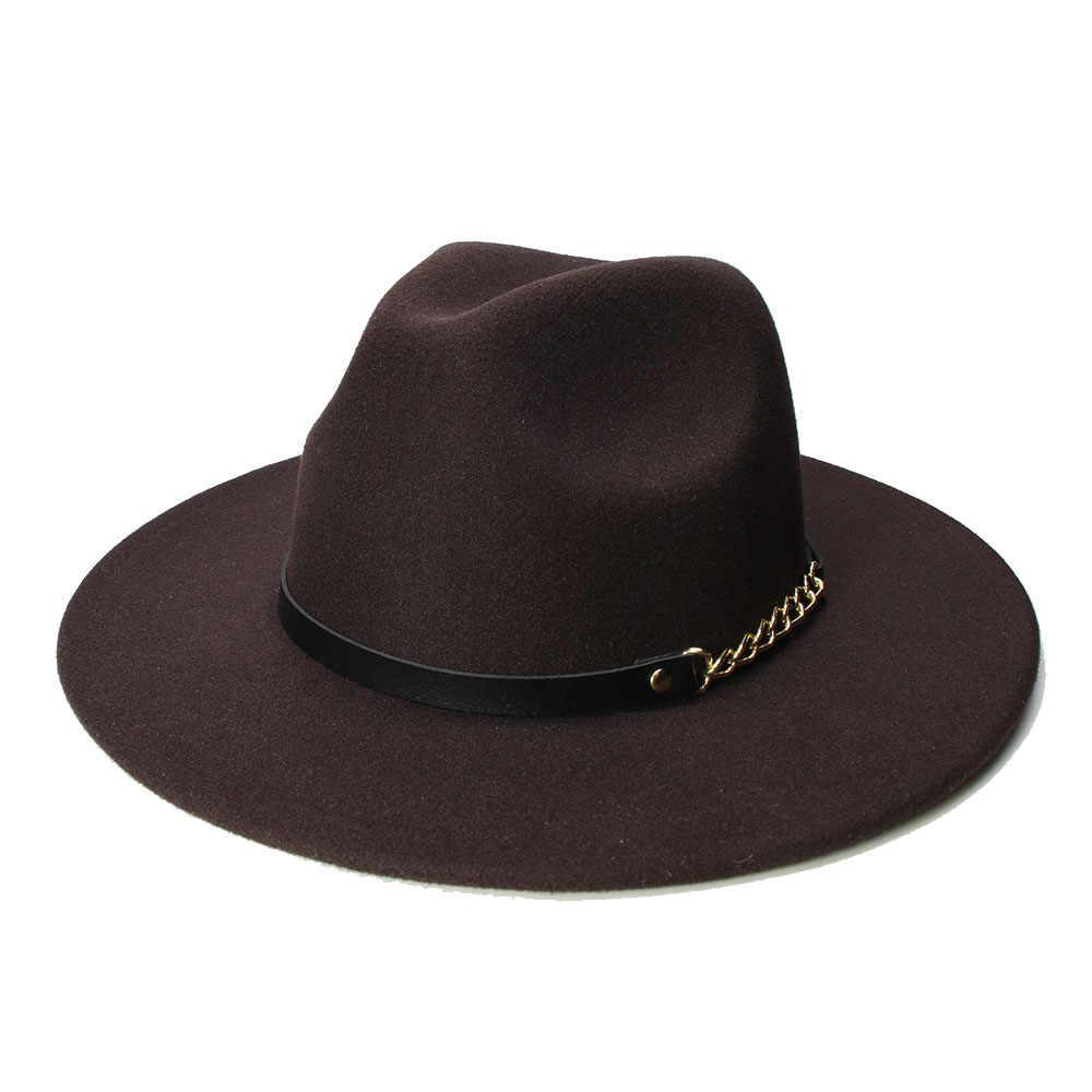 LUCKYLIANJI Retro dziecko dziecko w stylu Vintage 100% wełna szeroki czapka z rondem Fedora Panama Jazz melonik czarny łańcuch skórzany pasek (54 cm /dostosować)