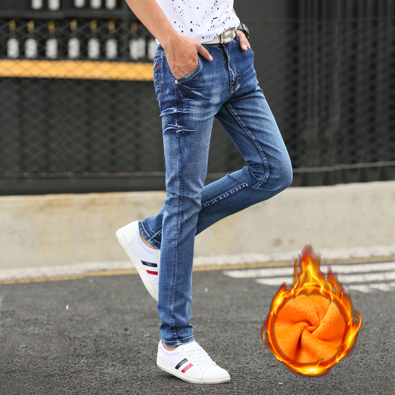 2019 Winter New Men's Stretch Plus Velvet Jeans High Quality Slim Warm Men's Straight Casual  Jeans Men's Trousers Size 27-36