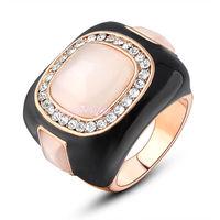 Free Shipping >> women vintage black enamel crystal cocktail ring statement jewelry