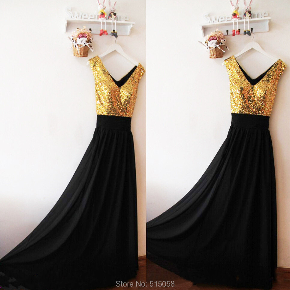 Sexy V Neck Black Bridesmaid Dresses Long Chiffon Gowns With Gold ...