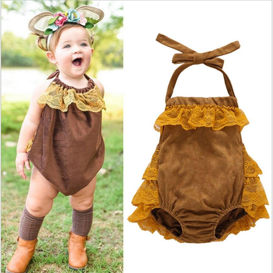Lato noworodka dziewczynek koronki body bawełna bez rękawów - Odzież dla niemowląt - Zdjęcie 1