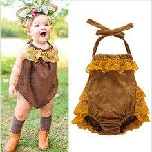 Sommer Neugeborenen Baby Mädchen Spitze Body Baumwolle Sleeveless Spitze Quaste Braun Overall Kleidung Overall Outfits Baby Body 0-2 T
