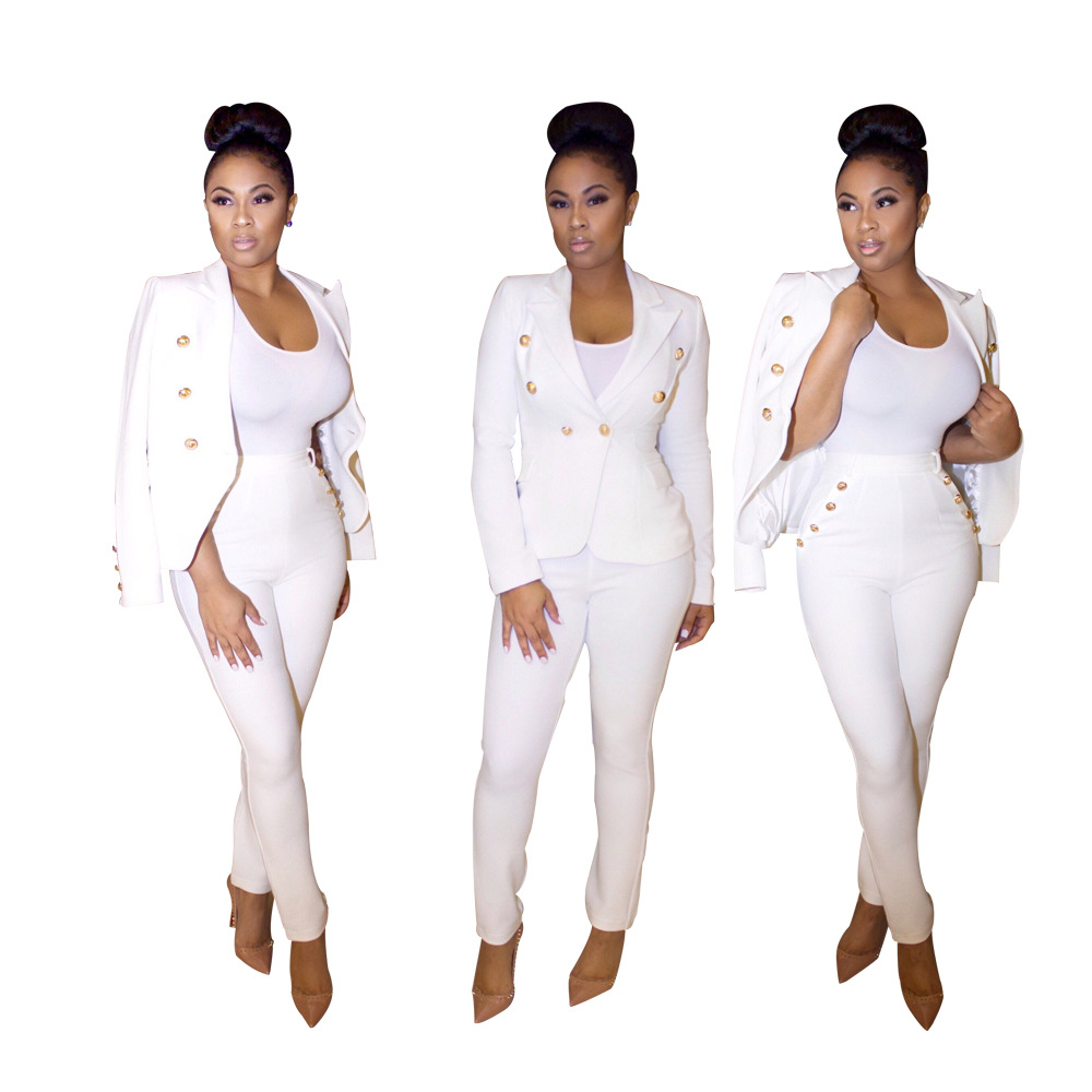 2017 Spring Autumn White Sexy Blazer Set Trouser For Women Casual ...