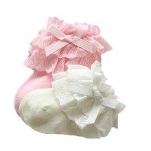 Носки для маленьких девочек, хлопковые кружевные детские носки для новорожденных девочек, одежда для маленьких девочек в стиле принцессы, аксессуары